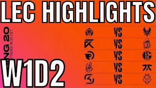 LEC Highlights ALL GAMES Week 1 Day 2 Spring 2020 League of Legends EULEC