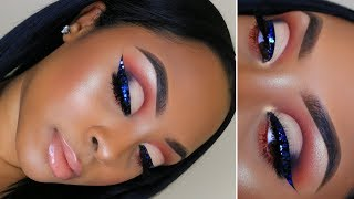 Half Cut Crease with Blue Glitter Eyeliner! | Makeup Tutorial