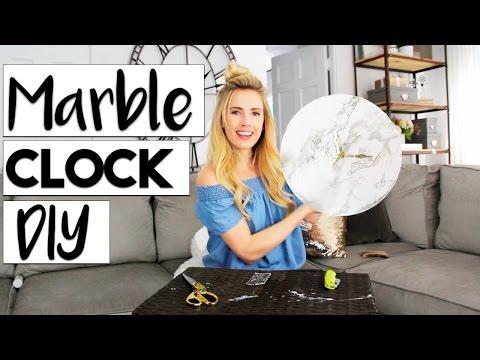 DIY DECOR: Marble + Gold Clock DIY | Easy Room Decor DIYS