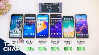 Galaxy S9+ vs OnePlus 6 vs P20 Pro vs HTC U12+ vs iPhone X - Battery Test!  | The Tech Chap