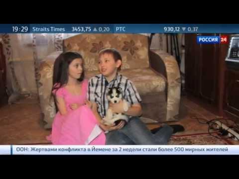 Путин подарил щенка хаски девочке из Копейска