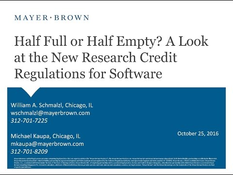 Half Full or Half Empty? A Look at the New Research Credit Regulations for Software