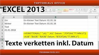 Texte aus mehreren Zellen verketten verbinden + Datum (Excel)
