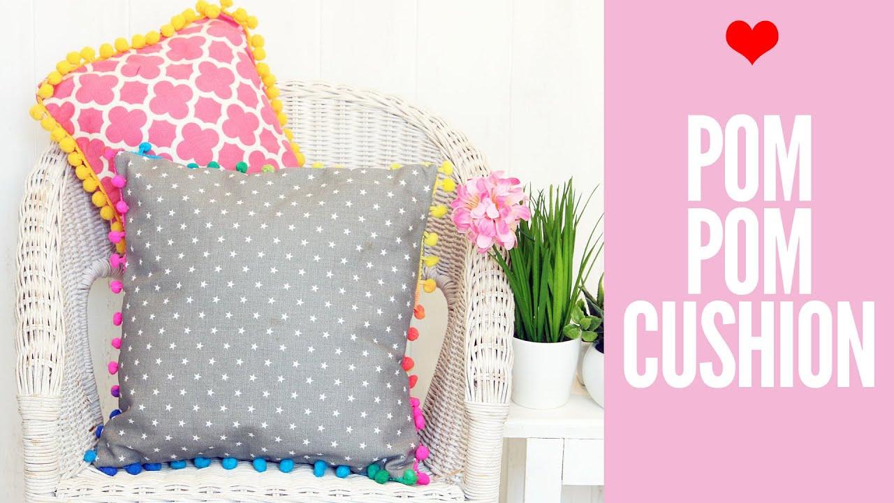 pom pom cushion tutorial fast and easy cushion cover