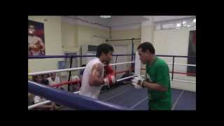 Manny Pacquiao hitting punch mitts for Rios fight 10-1-13
