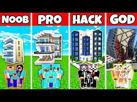 Minecraft: FAMILY MODERN HOTEL BUILD CHALLENGE - NOOB vs PRO vs HACKER vs GOD in Minecraft