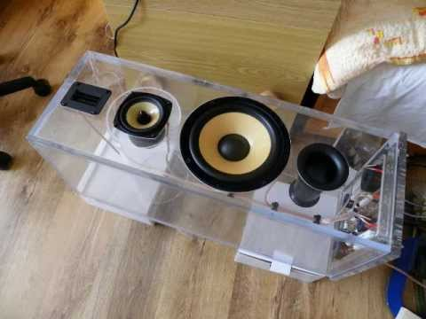 Making the 3-way speakers ( transparent box) - YouTube