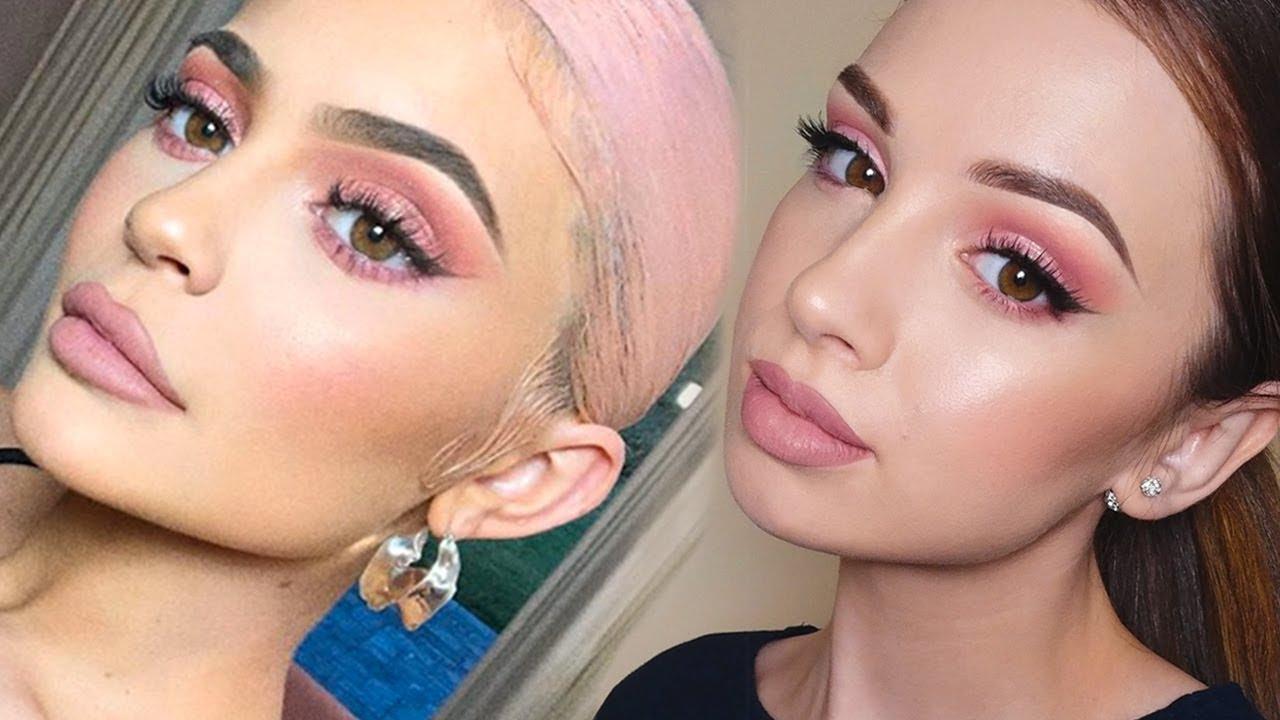 KYLIE JENNER Inspired Makeup Tutorial | Pink Smokey Eye ...