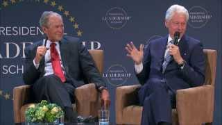Presidents Bush and Clinton at the Presidential Leadership Scholars Graduation