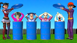 Scary Teacher 3D NickJoker and Tani Harley Quinn - Best Troll Miss T vs 3 Scary Neighbor with Drum