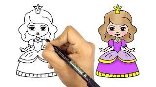 تعليم الرسم للاطفال | كيف ترسم عروسة كيوت وجميلة خطوة بخطوة للمبتدئين