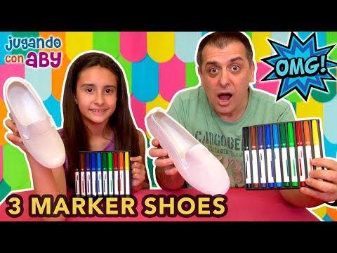 3 MARKER SHOES challenge. Zapatillas bonitas con colores divertidos