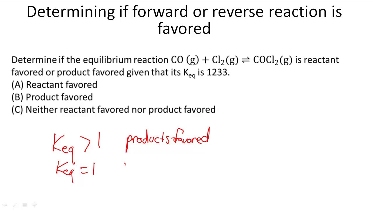 Determining If Forward Or Reverse Reaction Is Favored Youtube