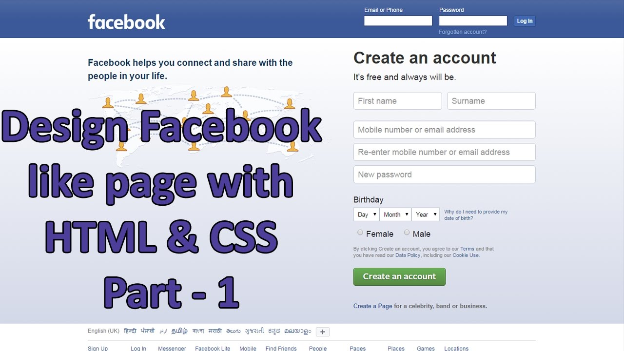 Design Facebook Like Page Using Html And Css Tutorial Part 1 Youtube