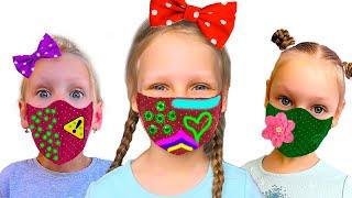 Ястася шьёт и одевает противовирусные красивые маски