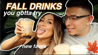 Trying my subscribers favorite FALL STARBUCKS DRINKS | YesHipolito