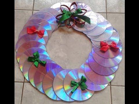 Artesanato com CD: Guirlanda feita com CD #Especial Natal