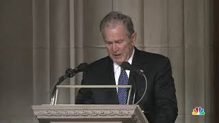 George W. Bush Breaks Down at During Eulogy For His Father