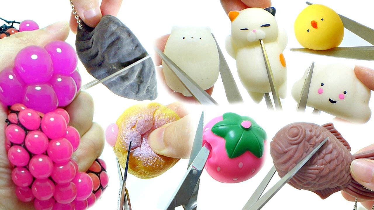Squishy Toys Greece : Cutting Open Squishy Squeeze Toy Compilation [No Music] Doovi