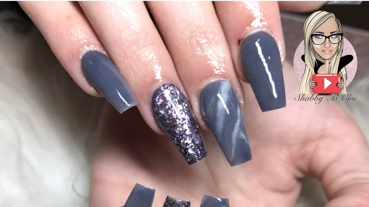 Grey/purple marble acrylic nails