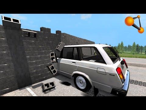 Стена против Машины ,врезаться и поехать дальше в BeamNG.driv