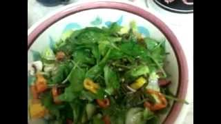 Spinach Salad With Dandelion, Green Tomatoes, Peppers, Mushrooms