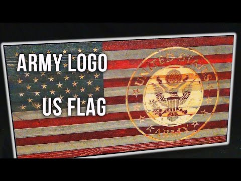 US Flag With Engraved US Army Logo