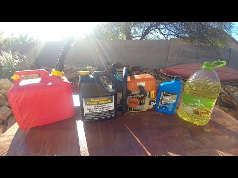 Running a Chainsaw on canola, bar and motor oils for 2 cycle oil