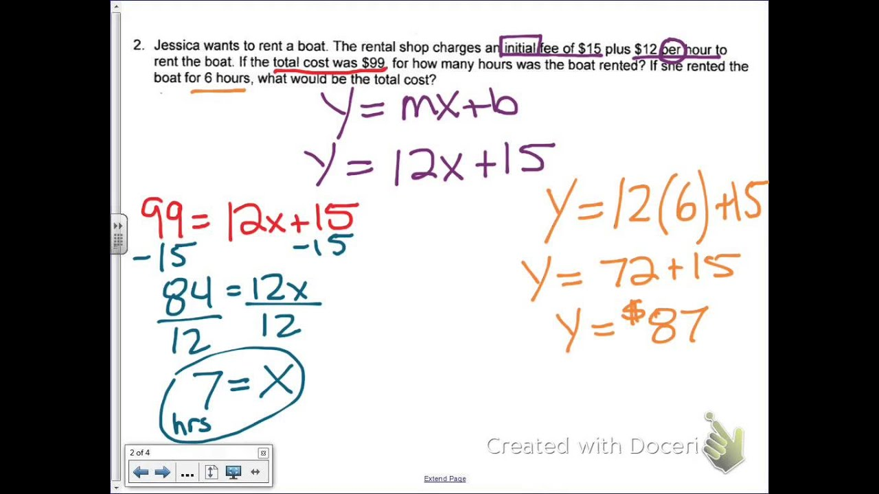 Common Core Math Write a Linear Equation Given a Word Problem – Writing Linear Equations Worksheet