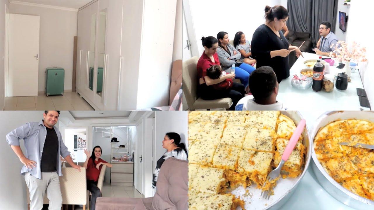 SENTINDO ENJOO🤢  FAMÍLIA DORMIU AQUI NO APÊ NOVO 😍 FIZ UMA TORTA DE FRANGO CREMOSA 😋