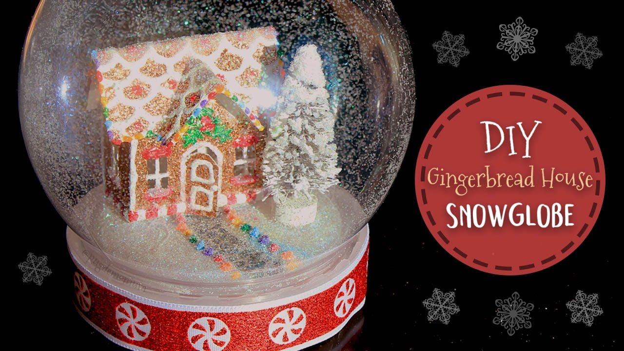 Diy snow globe no water mini gingerbread house craftmas youtube solutioingenieria Image collections