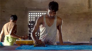 Block Printing - Indian worker block printing in the textile industry
