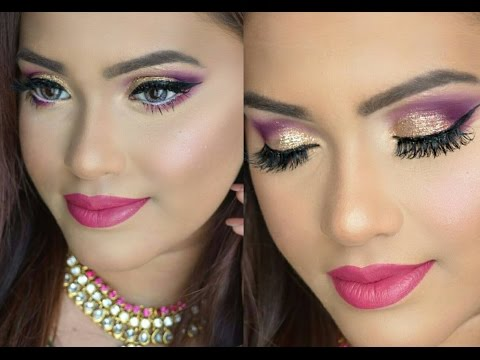 Eid Makeup Tutorial| Dramatic Purple & Gold Glitter Eye Makeup look