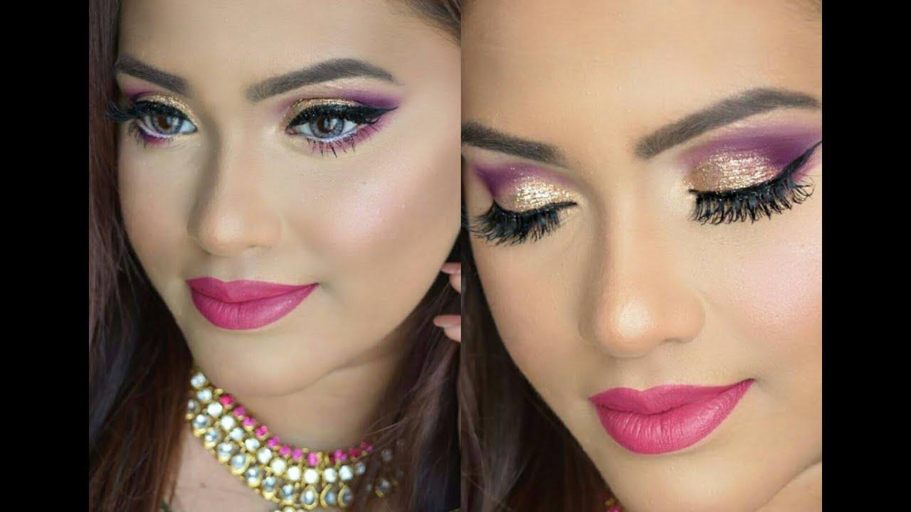 Eid makeup tutorial dramatic purple amp gold glitter eye