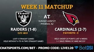 Raiders Week 11: Preview Vs Cardinals, Betting Odds, Score Prediction & Over/Under