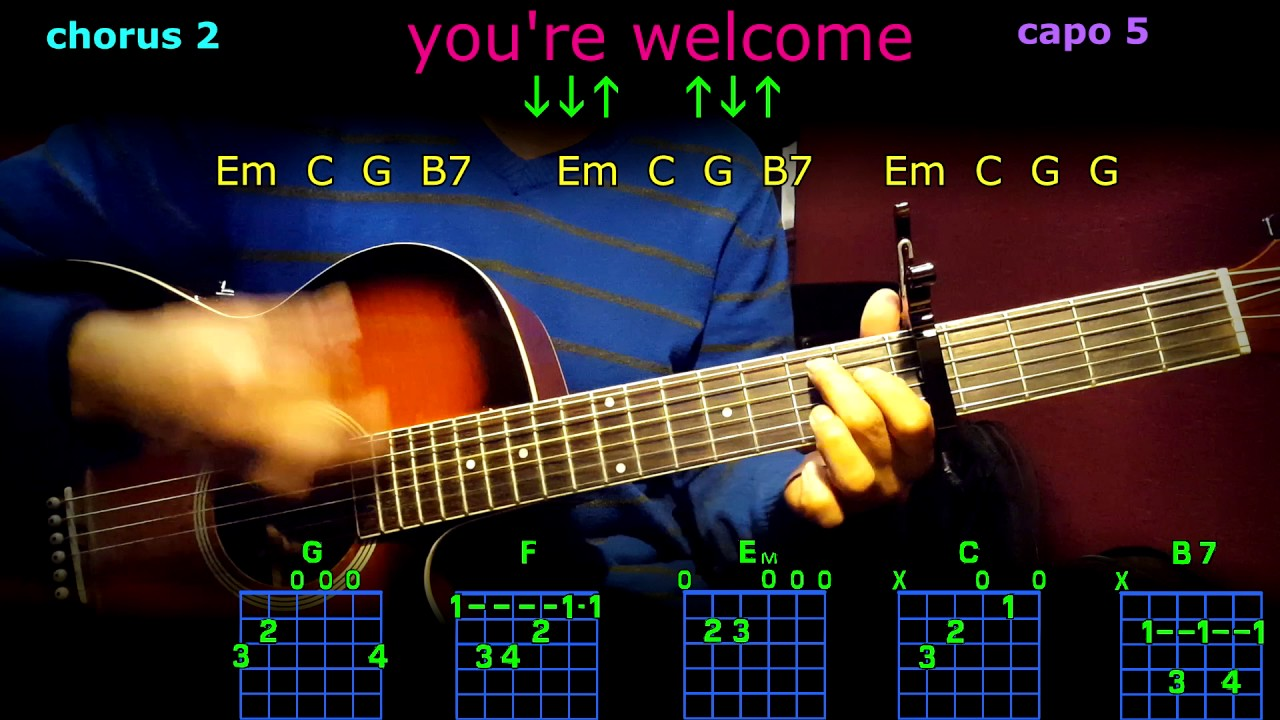 Youre Welcome Dwayne Johnson Guitar Chords Youtube