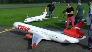 TAM MD-11 AND SWISS DC-10 HUGE RC TURBINE MODEL AIRLINER FLIGHT DEMONSTRATION