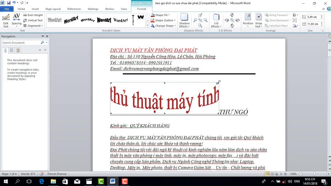 Cách tạo chữ nghệ thuật trong Word 2007, 2010, 2013, 2016
