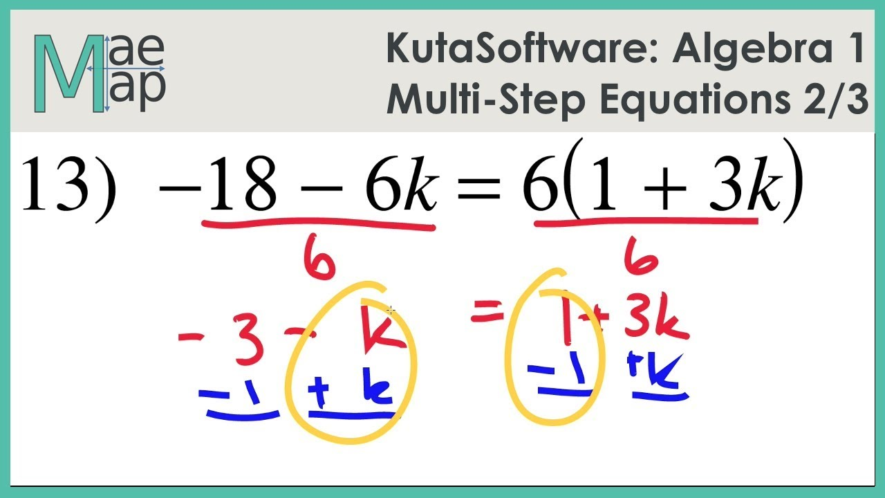 Kutasoftware Algebra 1 Multi Step Equations Part 2 Youtube