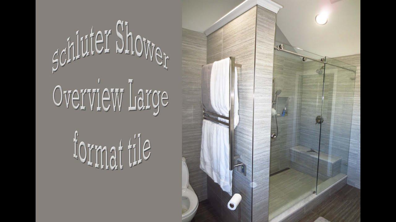 schluter bathroom large format tile linear drain heated floor bench seat t lock