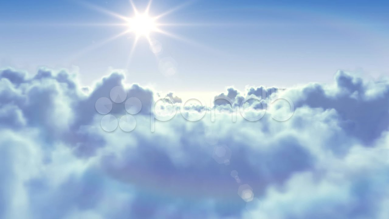 Flying Over The Clouds With The Sun. Looped 3D Animation ...