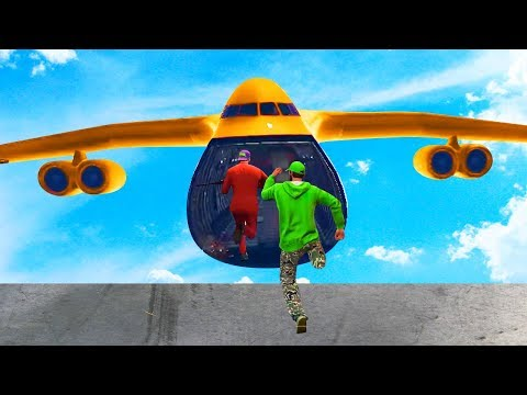JUMP INTO THE FLYING CARGO PLANE CHALLENGE! (GTA 5 Funny Moments)
