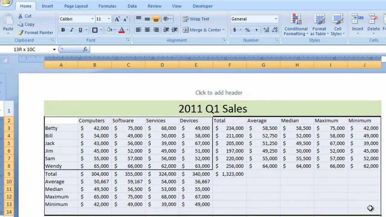 Excel 2007 Tut I L 5 Functi W Ksheet Ex Le Sum Tot L