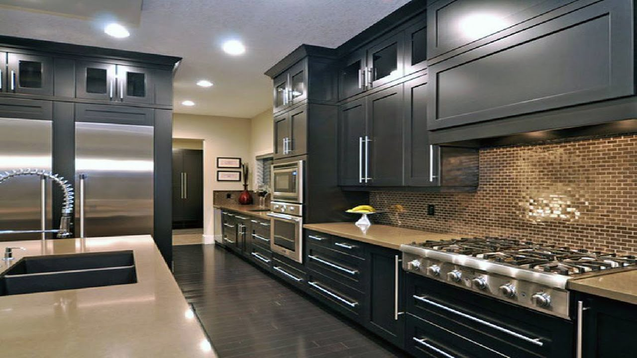 Dark black kitchen design ideas youtube for Kitchen designs black