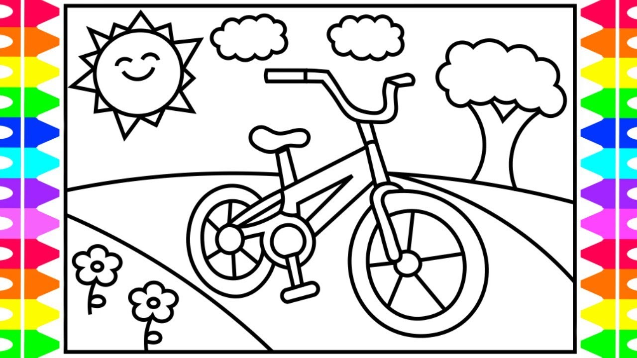 How to Draw a BICYCLE Step by Step for Kids 🚲 Bicycle Coloring Pages  Fun  Coloring Pages for Kids