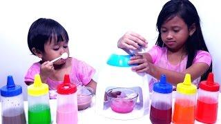 Jessica Jenica Membuat Es Serut Pelangi 💖 Mainan Anak Make Rainbow Ice Serut