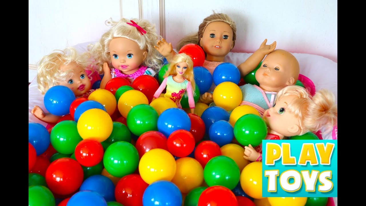 Baby Dolls Playing Youtube Baby Dolls Playing In Color Balls And Toys Surprises