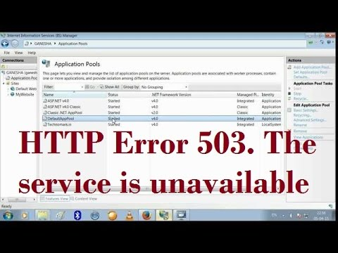HTTP Error 503. The service is unavailable [ Resolved ]