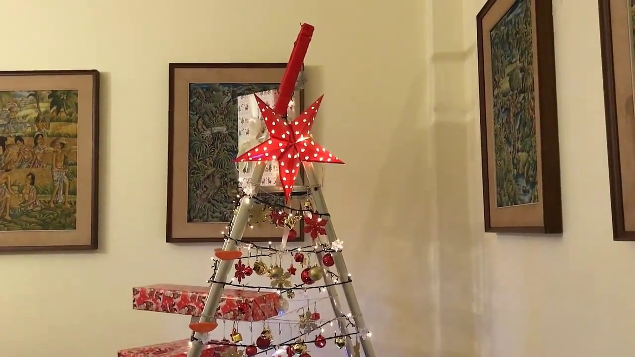 creative diy ladder christmas tree - Christmas Tree Ladder Decoration