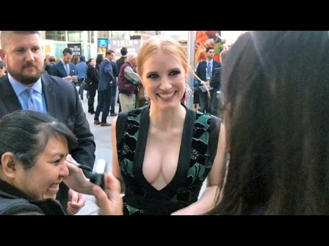 Jessica Chastain Flaunts Cleavage Greeting 'Zookeeper's Wife' Fans